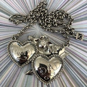 ✨Mom & Dad Tattoo Flash Heart Necklace Silver
